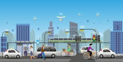 Near future view of renewable electrified city transports. Driverless vehicles and drones for light deliveries. Everything connected using IoT enabling optimization of resources. Vector Illustration.