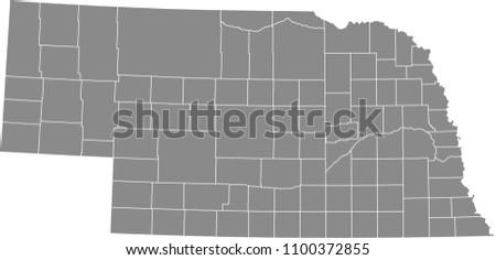 nebraska county map vector