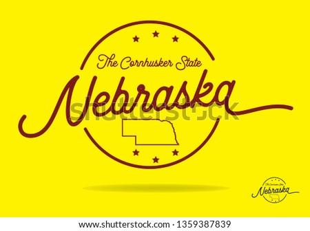 Nebraska logo design with nickname The Cornhusker State, Vector EPS 10.