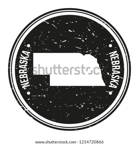 Nebraska Map Symbol Round Design Stamp Travel and Business