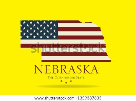 Nebraska map with nickname The Cornhusker State, Vector EPS 10.