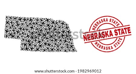 Nebraska State distress seal stamp, and Nebraska State map collage of airplane elements. Collage Nebraska State map created with aviation items. Red seal with Nebraska State word, Photo stock ©