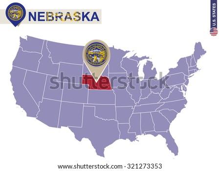 Nebraska State on USA Map. Nebraska flag and map. US States.
