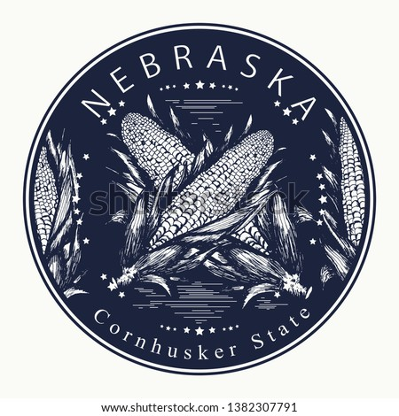Nebraska. Tattoo and t-shirt design. Welcome to Nebraska (USA).  Cornhusker state slogan. Travel concept