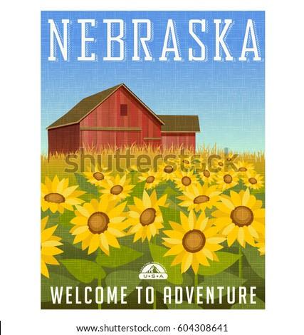 Nebraska travel poster or sticker. Vector illustration of sunflowers in front of old red barn. Rural landscape.
