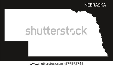 Nebraska Usa Map Black Inverted Silhouette Ez Canvas