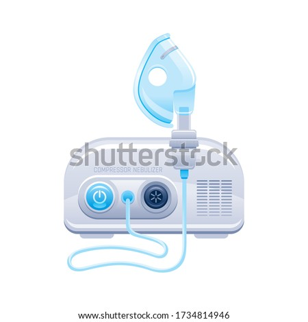 Nebulizer icon. Medical machine with mask and aerosol compressor for oxygen therapy. Hospital breath treatment equipment for asthma, pneumonia, bronchitis. Vector device illustration isolated on white Foto stock ©