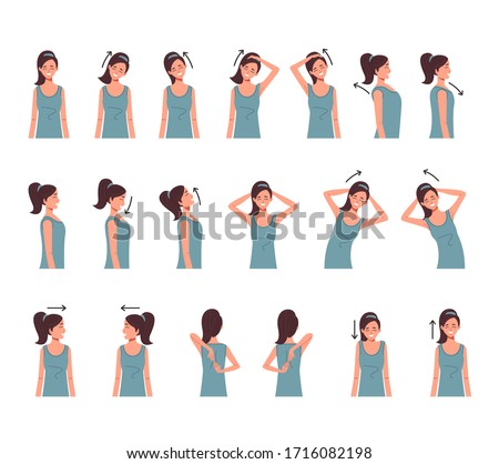 Neck shoulder spine exercise isolated set. Vector flat cartoon graphic design illustration Foto stock ©
