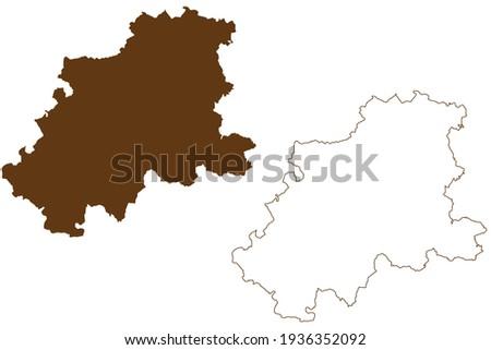 Neckar-Odenwald-Kreis district (Federal Republic of Germany, rural district, Baden-Wurttemberg State) map vector illustration, scribble sketch Neckar Odenwald Kreis map Stock foto ©