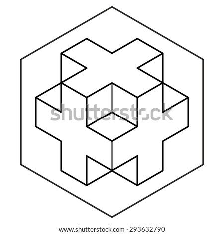 necker cube icon vector  line
