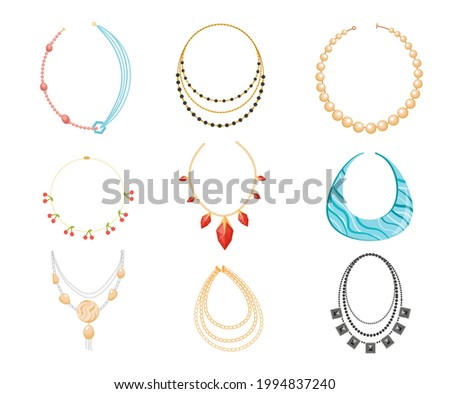 Necklace, Beads Boho Style Jewelry Made of Precious or Semi-precious Gemstones. Bijoux for Women, Gold Metal and Rocks Bijouterie Isolated on White Background. Cartoon Vector Illustration, Icons Set