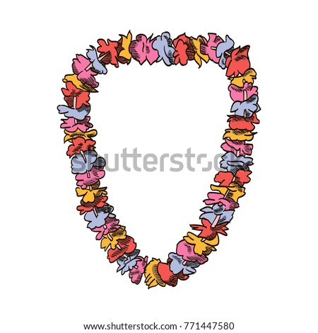Necklace of flowers vector drawing illustration