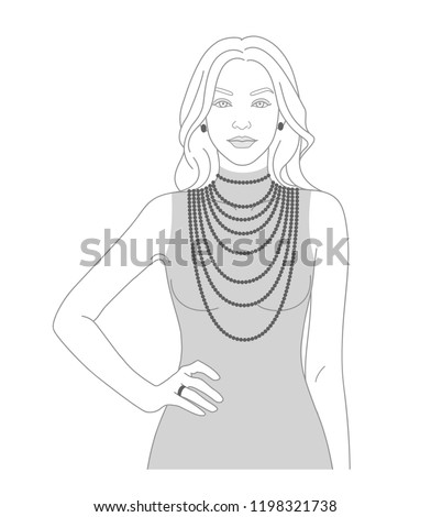 Necklace size chart with a silhouette of a woman. Demonstration of long necklaces.