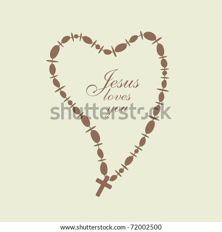 necklace with beads and Christian Cross in a heart shape, vector
