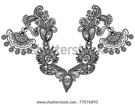 Neckline embroidery fashion - stock vector