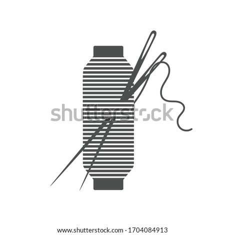 Needle and spool silhouette icon vector illustration. isolated on white background. Machinery spool instrument.