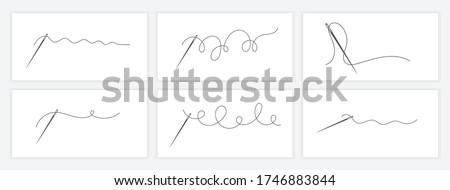 Needle and thread silhouette icon set vector illustration. Tailor logo with needle symbol and curvy thread collection isolated on white background. Tailor logo template, fashion icon element
