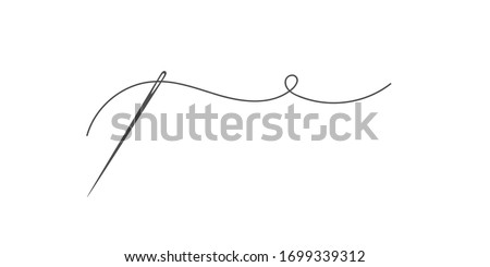 Needle and thread silhouette icon vector illustration. Tailor logo with needle symbol and curvy thread isolated on white background. Tailor logo template, fashion icon element, needlework instrument