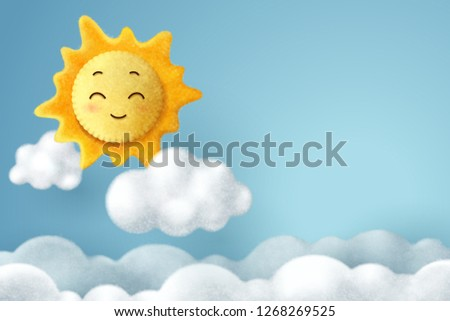 Needle felting of sun and cloud in the sky, hello spring or summer concept, vector art and illustration.