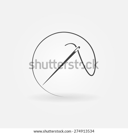 Needle icon or logo - vector sewing symbol or element for design