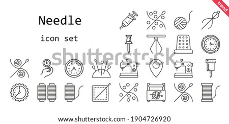 needle icon set. line icon style. needle related icons such as sewing box, needles, vaccine, hook, pin, sewing machine, thimble, wool ball, sewing, wall clock, thread,