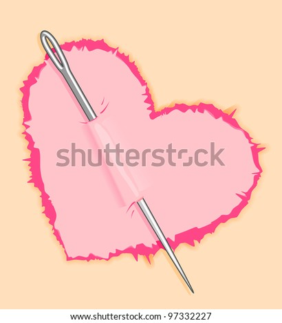Needle in pink heart for love concept design. Jpeg version also available in gallery