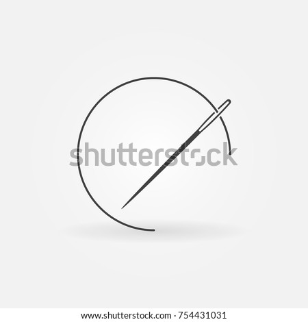 Needle with thread vector icon. Sewing concept symbol or design element