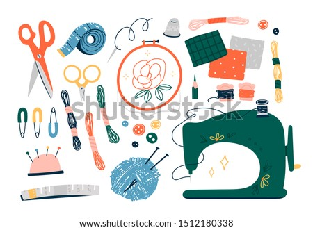 Needlework concept. Various sewing tools. Needles, scissors, yarn, sewing machine, buttons, spools, threads etc. Hand drawn colored vector set. Cartoon style, flat design. All elements are isolated