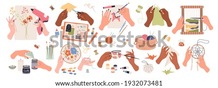 Needlework embroidery. Human hands create handmade crafts, artisan tools and accessory, work and hobby, decoupage and tapestries, sewing and knitting, drawing and origami, vector cartoon decor set