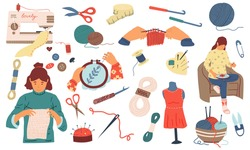 Needlework. Sewing knitting and embroidery hand made woman hobby collection, tools and instruments, handicraft accessory. Dressmaking and crochet clothes vector needle threads and yarn cartoon set