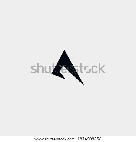 Negatif letter a logo with running or jumping pose Stok fotoğraf ©