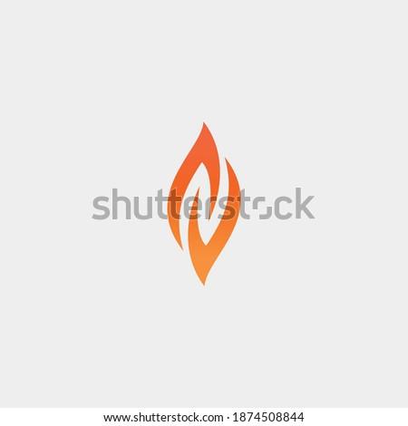 Negatif letter N inside the flame vector design for logo Stok fotoğraf ©