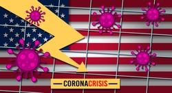 Negative economic trend with bacteria cells and American flag on background. Coronavirus financial crisis. Quarantine in USA, Europe, Asia. Covid-19 economic crash. 2020 financial crisis.