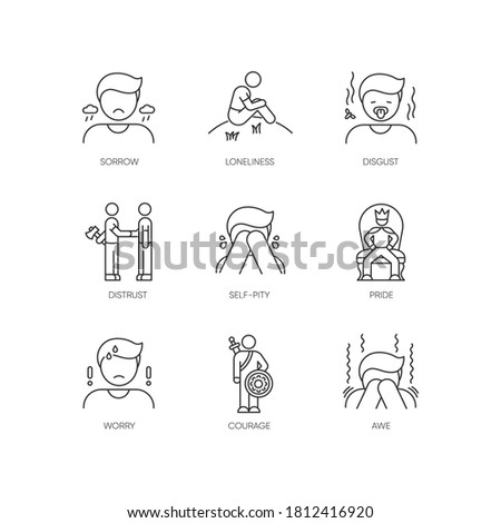 Negative feelings pixel perfect linear icons set. Bad emotions, mental states customizable thin line contour symbols. Emotional expressions. Isolated vector outline illustrations. Editable stroke Foto d'archivio ©