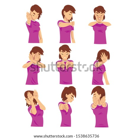 Negative gesture by woman character cartoon vector illustration