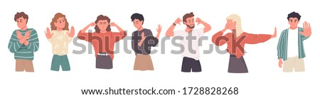Negative gestures vector illustrations set. Disagree and stop consept. Hand language refuse. People disagree and rejection signs. Sign language, emotions expression.