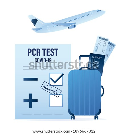 Negative PCR test for coronavirus, luggage and passport with boarding pass tickets. Modern airplane take off. Travel to new requirements. Covid-19 prevention. Health care concept. Vector illustration