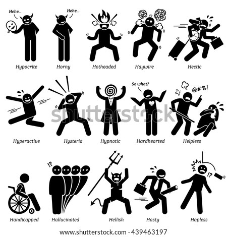 Negative Personalities Character Traits. Stick Figures Man Icons. Starting with the Alphabet H. Stockfoto ©