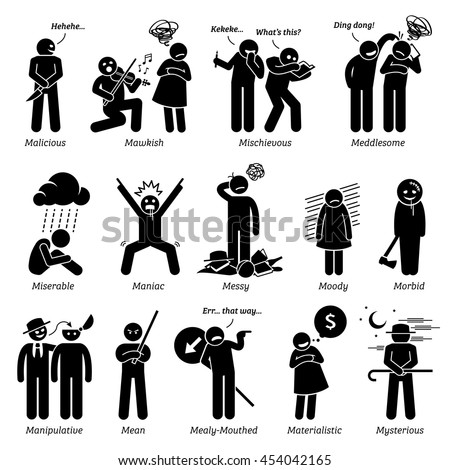 Negative Personalities Character Traits. Stick Figures Man Icons. Starting with the Alphabet M. Stockfoto ©