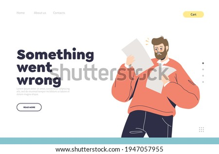 Negative shock emotion concept of landing page with shocked man reading paper document. Unhappy surprised cartoon business male character hold bills, receipt or dismissal letter. Vector illustration