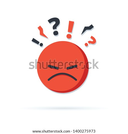 Negative thinking, bad experience feedback, unhappy client, difficult customer, poor service quality, angry red face, mad emoticon sticker, hate and furious, vector icon, flat illustration