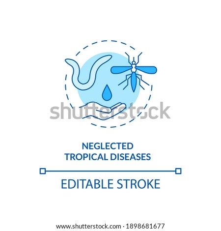 Neglected tropical diseases concept icon. Top international health programs. Harmful animals for body idea thin line illustration. Vector isolated outline RGB color drawing. Editable stroke Stock photo ©