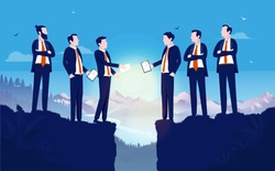 Negotiating - Two teams of businesspeople meeting between gap in high altitude. Merging companies, hard bargain and business agreement concept. Vector illustration.
