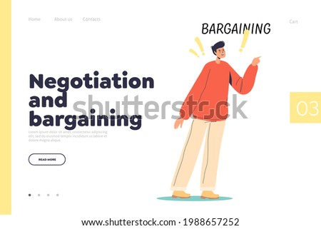 Negotiation and bargaining concept of landing page with man negotiating find solution to problem. Bargain stage o acceptance. Mental disorder and depression. Cartoon flat vector illustration Foto stock ©
