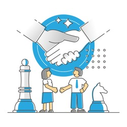 Negotiation deal and discussion compromise agreement monocolor outline concept. Partnership communication or manager vs customer trade process with price bargain final process vector illustration.