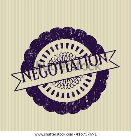 Negotiation grunge style stamp