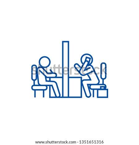 Negotiation room, coworking office line icon concept. Negotiation room, coworking office flat  vector symbol, sign, outline illustration.