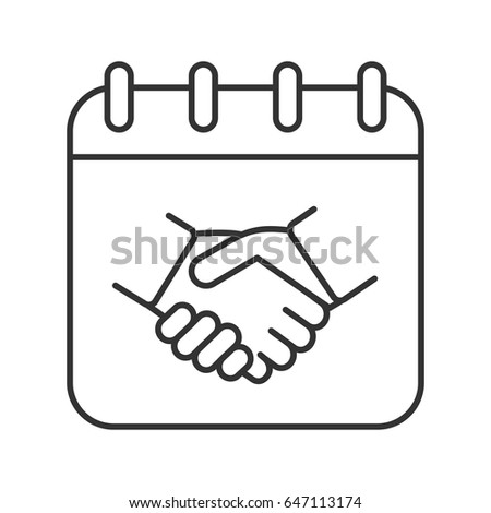 Negotiations day linear icon. Thin line illustration. Business negotiation date. Calendar page with handshake contour symbol. Vector isolated outline drawing