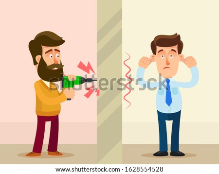 Neighbor in apartment drill a wall making a loud noise. Other man plug with fingers ears because of an unbearable noise. Home repair in evening. Vector illustration, flat design, cartoon style.