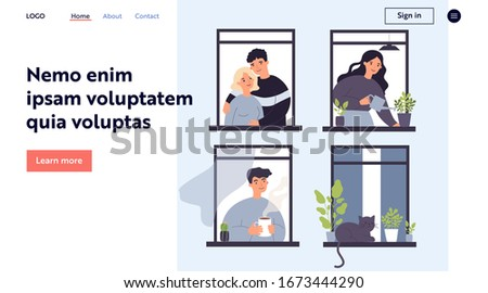 Neighbor people and cat life through open windows. Housemates hugging, watering houseplants, drinking morning coffee. Vector illustration for apartment building, condo, neighborhood concept